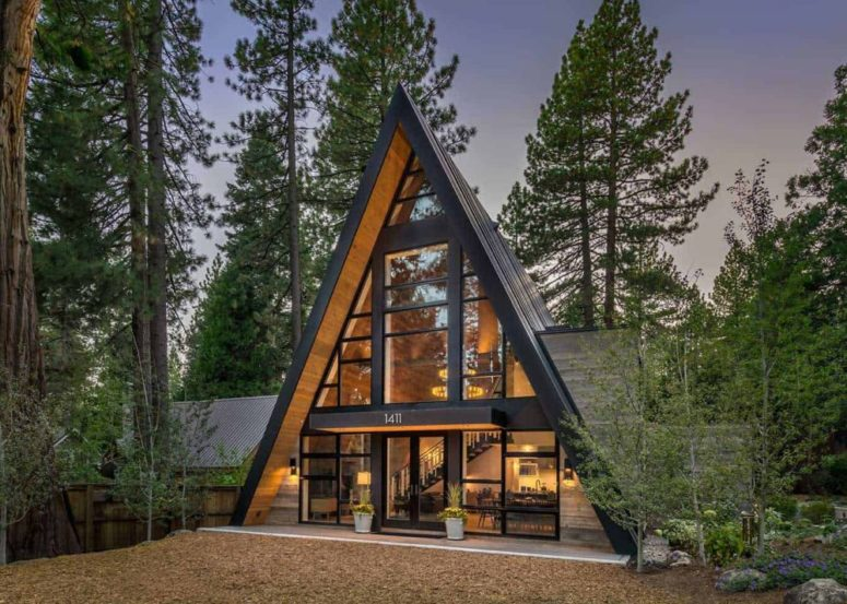 Contemporary A-Frame Cabin With A Soaring Ceiling