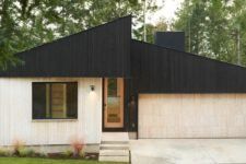 01 This minimalist home in Washington is covered with two tone wood to make its look contrasting and outstanding from the traditional neighborhood