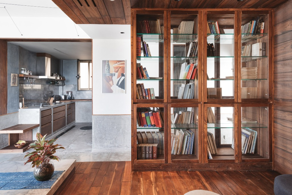 There's much concrete and even some marble in the decor, sleek plywood and wood warm up the spaces