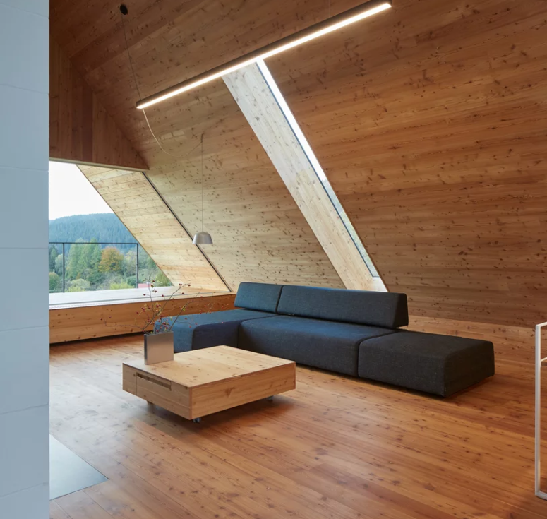 a living room with lots of wood