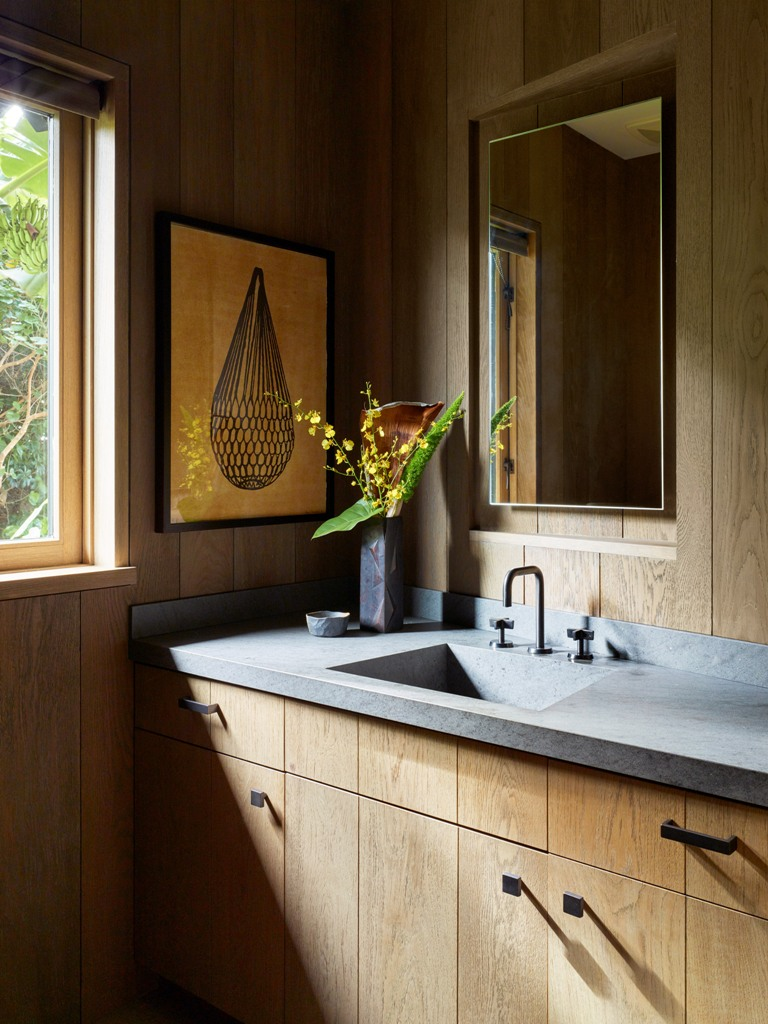 The bathroom is done with sleek plywood cabinets, a stone countertop and everything is clad with wood