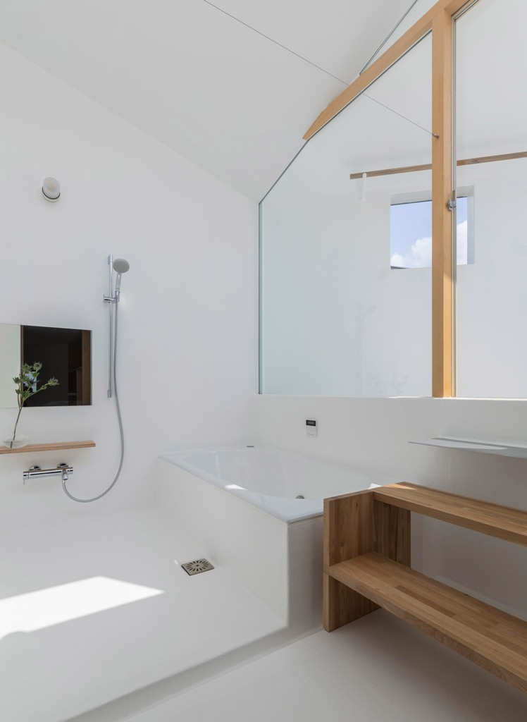 a modern all-white bathroom design