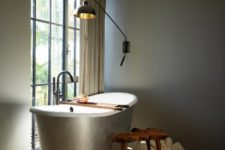 a cool oval free-standing tub is perfect for any interesting bathroom design
