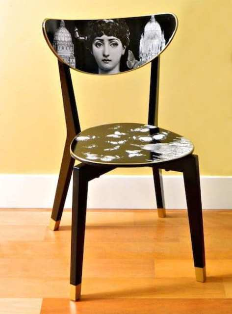 a simple IKEA dining chair renovated with decoupage using Mod Podge and artworks is a real work of art itself