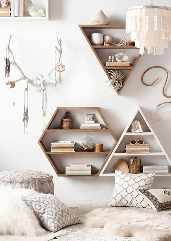 geometric wall-mounted shelves can be not only storage units but also cool decor items, too