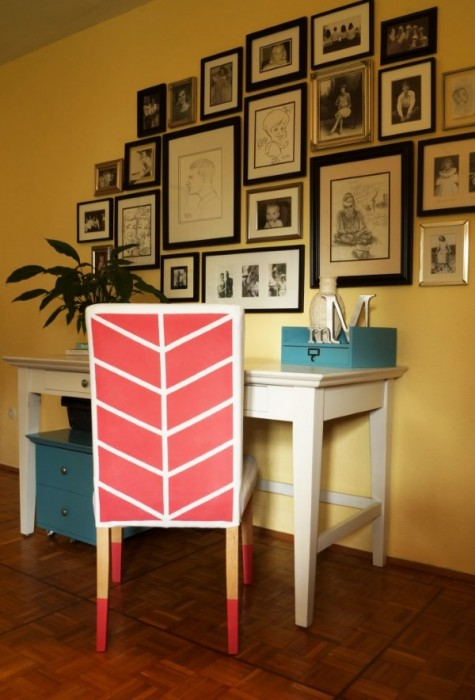 a super bright and colorful Henriksdal chair hack with stenciling and fabric paint