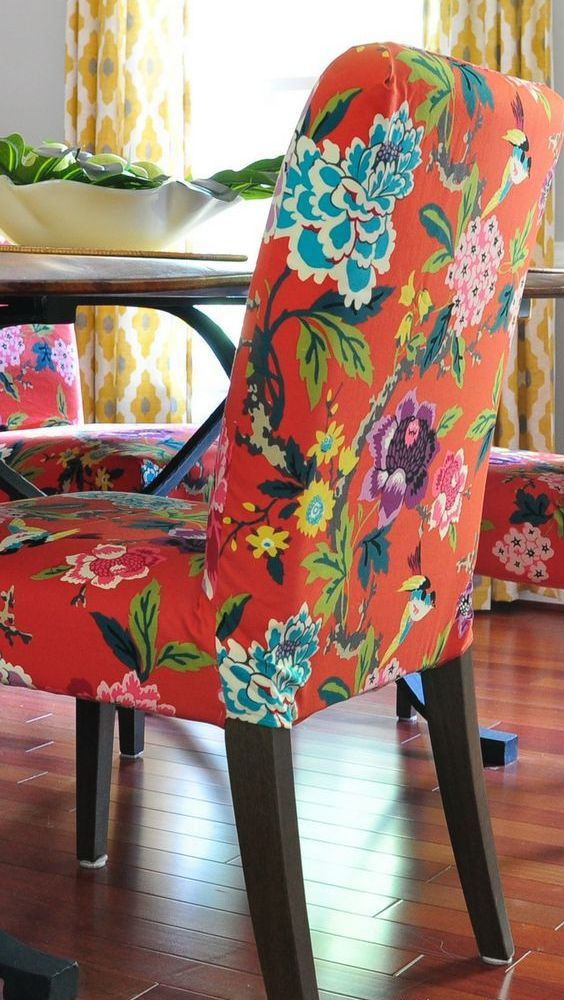 an IKEA Henriksdal hack with super bright floral fabric is an ultimate piece for spring and summer