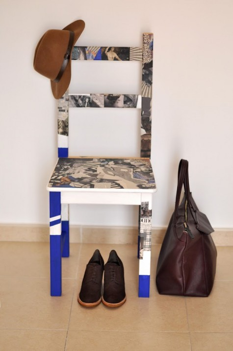 an IKEA IVAR chair decoupaged with old magazines and paint for a bold and contemporary look