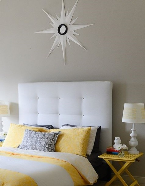 elegant DIY tufted headboard of an IKEA Malm shelf is a pretty idea with a refined feel