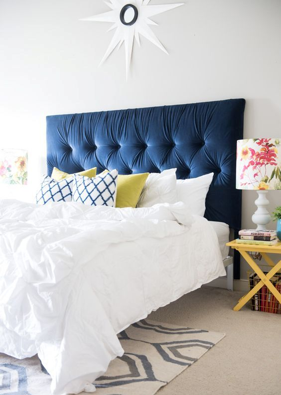 IKEA Malm headboard upholstered and tufted, done in navy velvet looks really luxurious