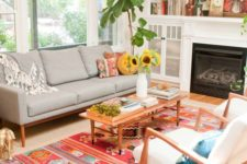 17 a single colorful rug like this one totally changes the whole look fo the room making it fun