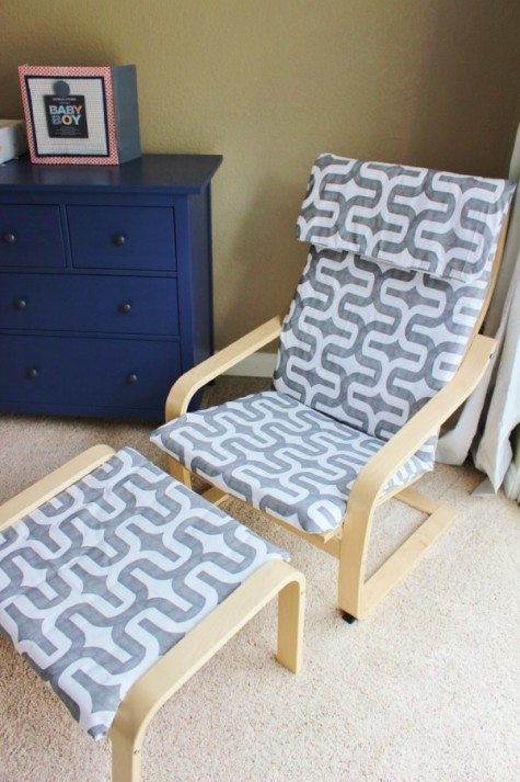 an IKEA Poang chair with a matching footrest reupholstered to match a mid-century modern space