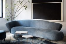 17 even if your sofa isn't curved but has a curved back, it shows off cool lines and silhouettes and looks wow