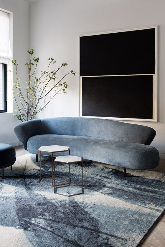 even if your sofa isn't curved but has a curved back, it shows off cool lines and silhouettes and looks wow