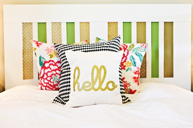 IKEA Brimnes headboard turned into a colorful and interesting piece using decorative metal screens and bright paints