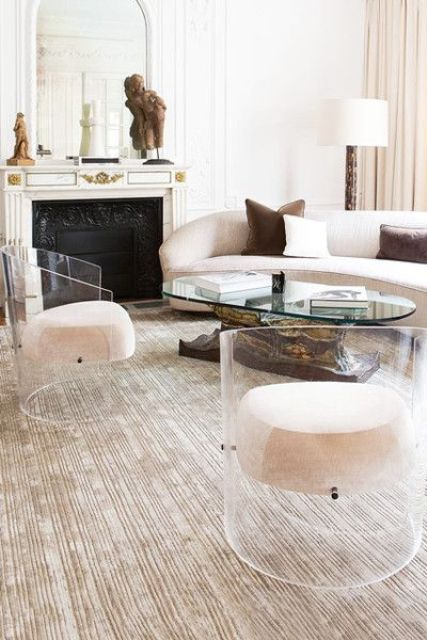 go unusual with a rounded sofa and rounded chairs instead of usual ones in your living room