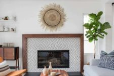 20 an eclectically styled living room with mid-century modern and boho items and furniture