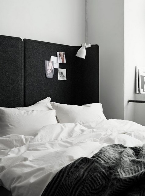two Bekant office panels by IKEA are brought together to make a statement headboard