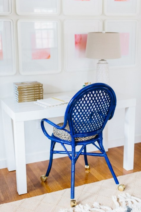 IKEA cobalt chair hack with leopard printed seat and gold casters makes it extra bold and very mobile
