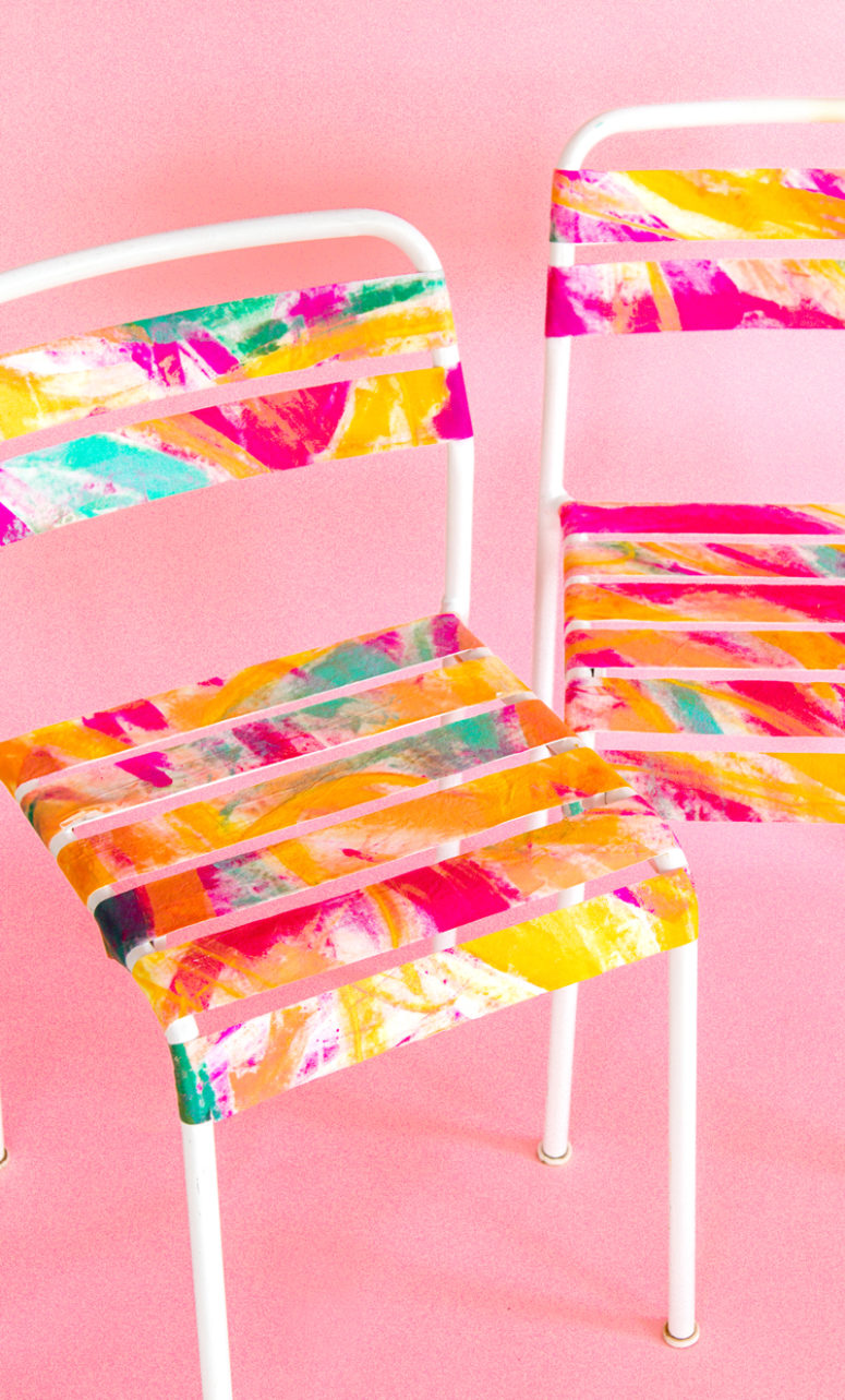 simple outdoor IKEA chairs painted bright watercolors for summer - they will bring much color to your space