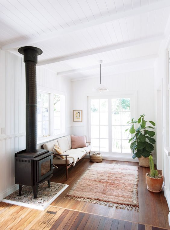 a neutral welcoming space with cozy furniture, a fringe rug, potted greenery and an antique stove for decor