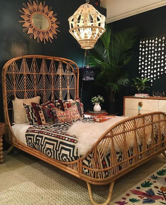 a boho bedroom with a rattan bed that is the main piece and is highlighted with all the rest here
