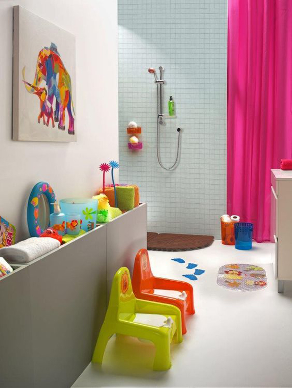 a modern kids' bathroom with bright stools, artworks, toys, towels, accessories for fun