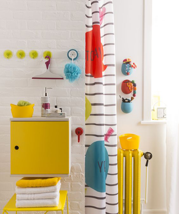 super bright furniture and accessories in various colors will spruce up even the most neutral bathroom ever