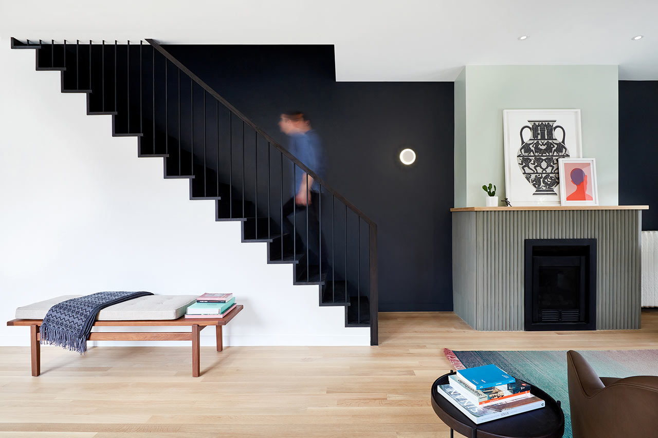 almost black and white living space design