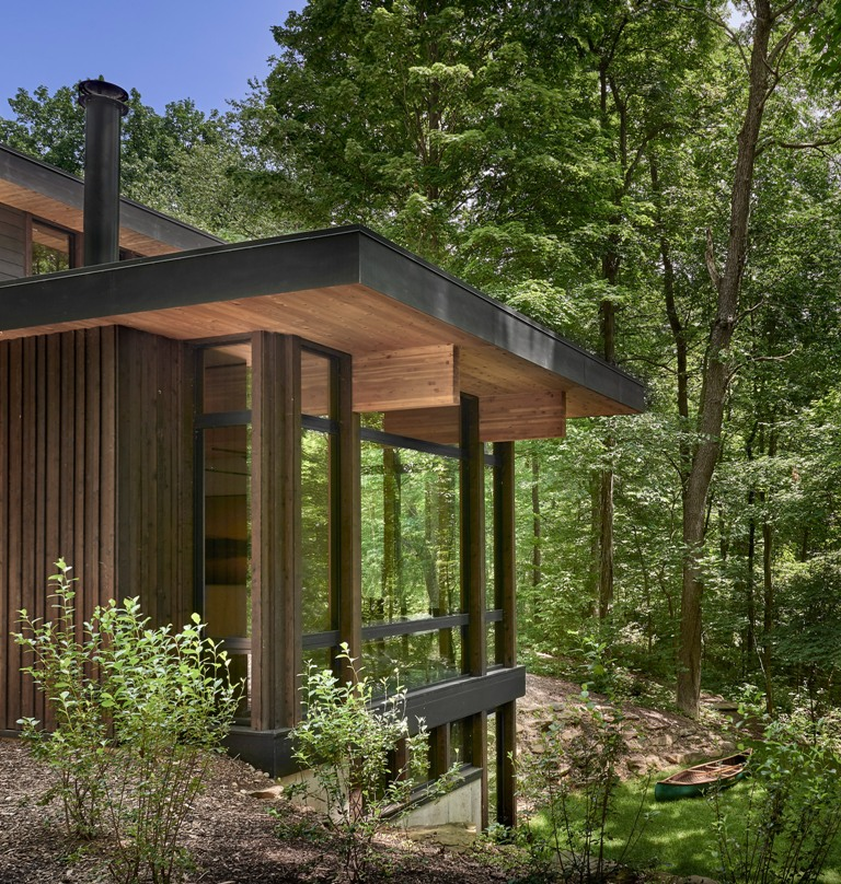 The most of the spaces are glazed to enjoy the wood views and make the house as transparent as possible in all senses