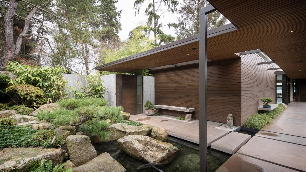 house around a cute zen garden