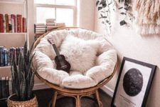 a cool rattan chair for a cozy nook