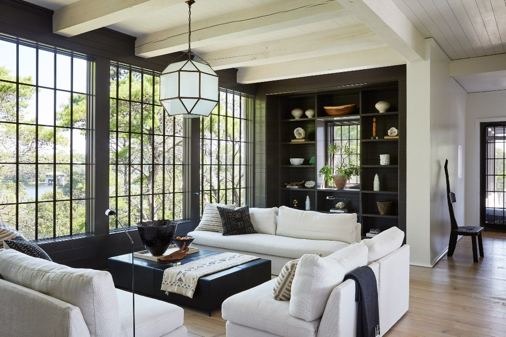 living room with cool built ins