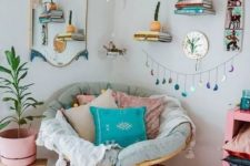 06 a colorful boho nook with a papasan chair with pastel pillows, a macrame chandelier and potted greenery and bright touches