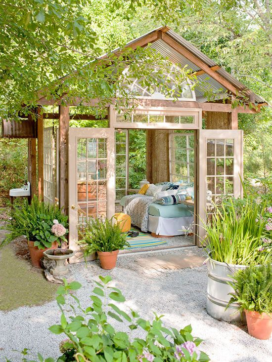 a pastel garden shed bedroom is a gorgeous peaceful space to spend time and enjoy a quick nap