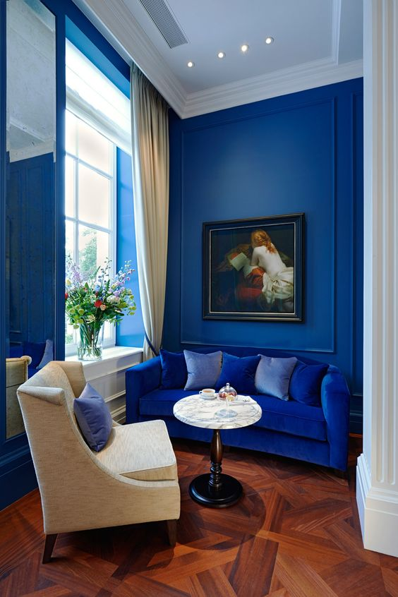 a refined yet tiny living room with blueberry blue walls and a bright blue sofa for a bold touch