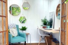 11 a small garden shed with a reading nook and a small workspace plus an arrangement of mirrors to enlarger the space