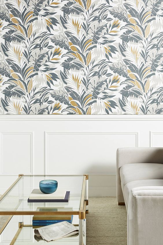 spruce up a neutral space with some bolder botanical wallpaper to make it brighter and catchier