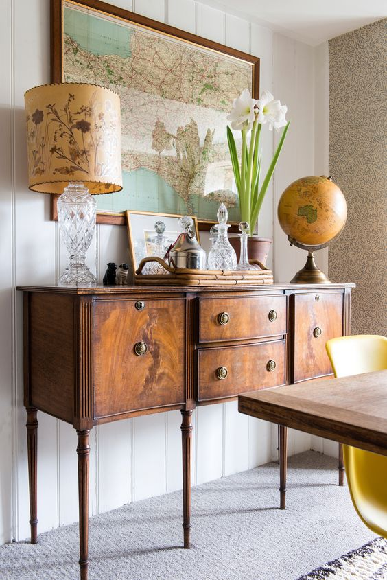 spruce up your living or dining room with an antique wooden sideboard like this one to add elegance