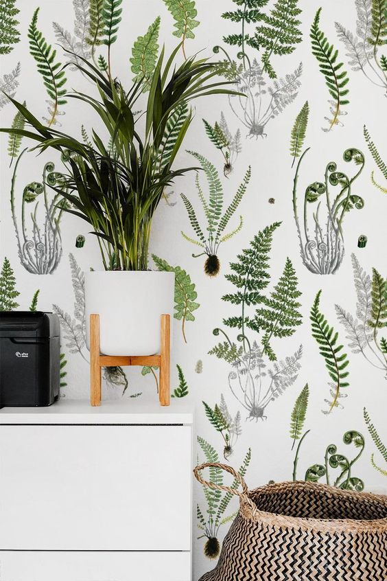 pair your botanical wallpaper with potted greenery and plants to make the space feel even more outdoorsy
