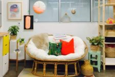 15 a rattan mamasan chair with colorful pillows is a great nook to spend time together
