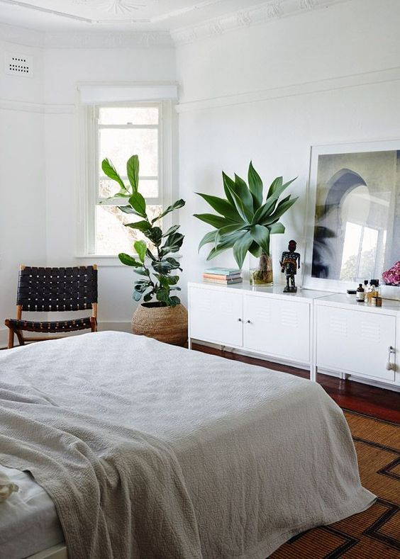 a boho bedroom with two statement plants that catch an eye and refresh the space