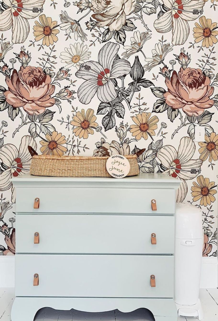 abstract and colorful blooms reminding of retro prints make the space trendy, bold and very eye-catchy