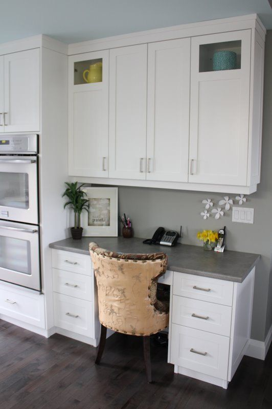 spotlight your workplace nook with a contrasting countertop and a press release wall shade