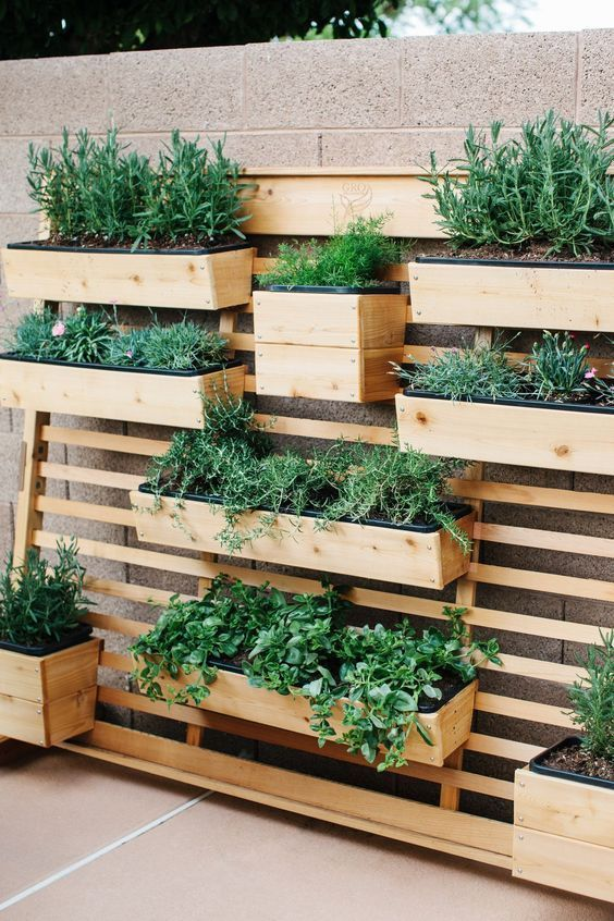 a planter wall with wooden fixtures and beams attached to one single wood slab screen is a creative idea
