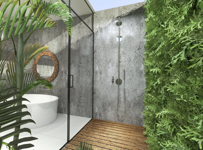 a biophilic bathroom with a living wall in the shower space and a part of it outdoors for more connection to nature