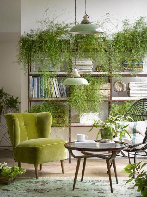 a biophilic space with lots of greenery placed on the storage unit, a rug with natural prints and wooden furniture