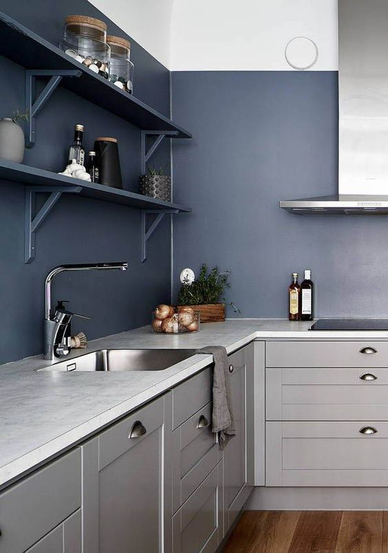 a bold contemporary kitchen in light grey with navy walls and shelves looks ultimately edgy and chic