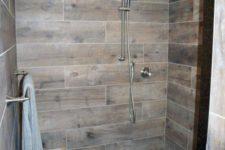 a wooden walk-in shower design