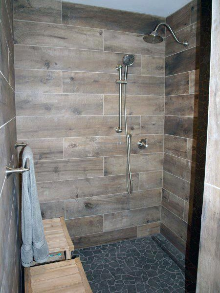 a wooden walk-in shower design